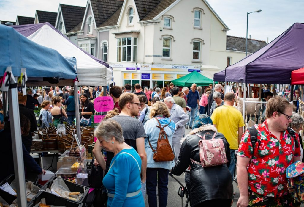 Shoppers at Uplands Market in Swansea